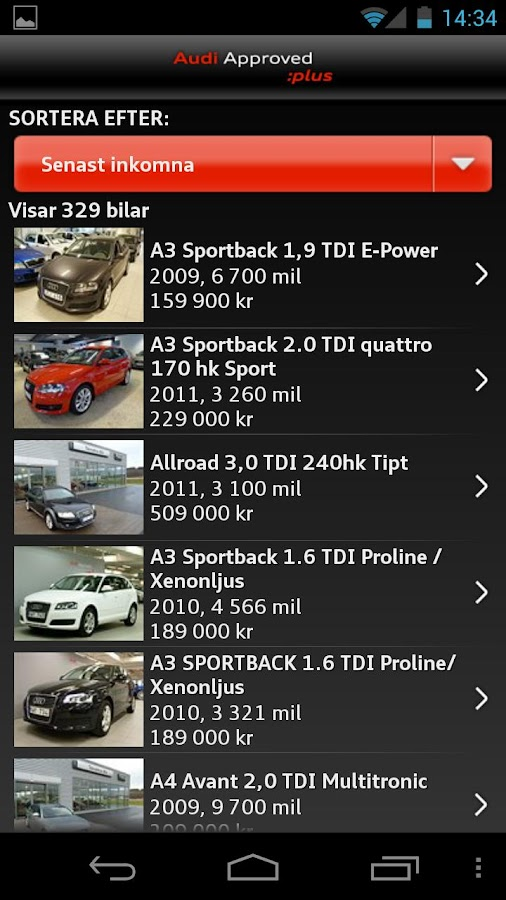 Audi Sverige - screenshot