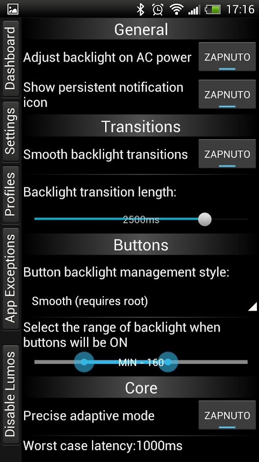 Lumos brightness manager- screenshot