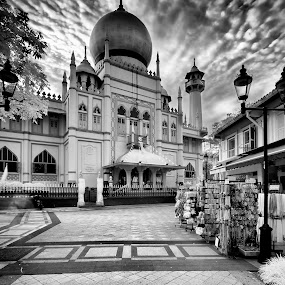 Masjid Sultan by Chester Chen - Black & White Buildings & Architecture ( blackandwhite, sultan, masjid, black and white, infrared, mosque, bnw, singapore, b&w, landscape )