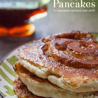 Eggnog Pancakes with Cinnamon Nutmeg Swirl.