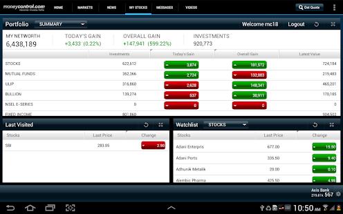 moneycontrol for Tablet - screenshot thumbnail