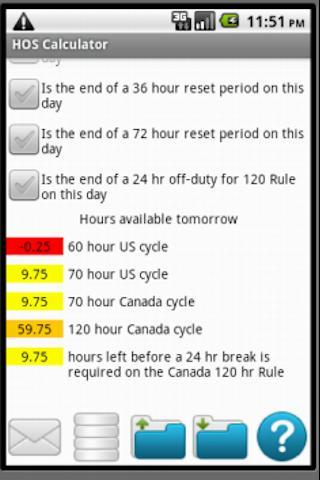 Hours of Service Calculator- screenshot