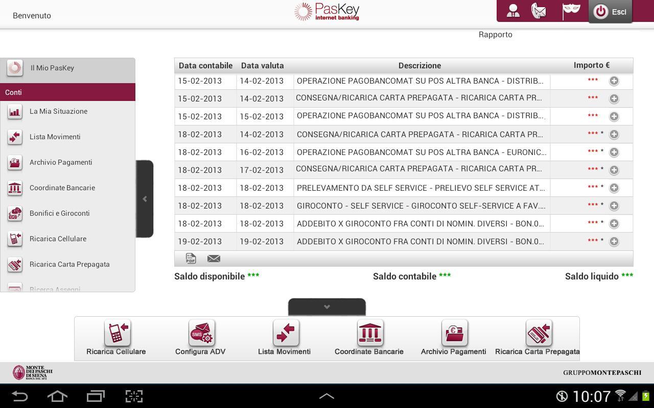 Banca MPS per Tablet - screenshot