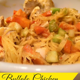 Buffalo Chicken over Spaghetti