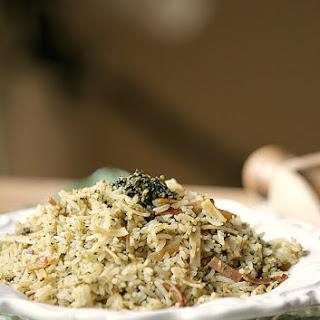 Basil Pesto Rice Spaghetti Pilaf (Copy Cat Rice-a-Roni) Low Calorie, Low Fat