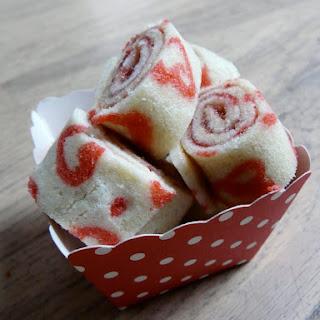 Printed Raspberry/Rhubarb Jelly Roll.