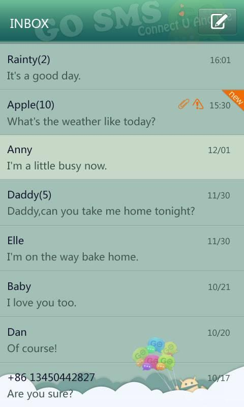 GO SMS Pro Paradise Theme - screenshot