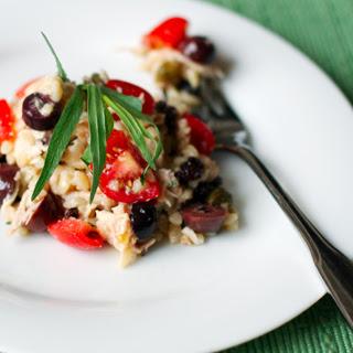 Mediterranean Orzo and Chicken Salad.