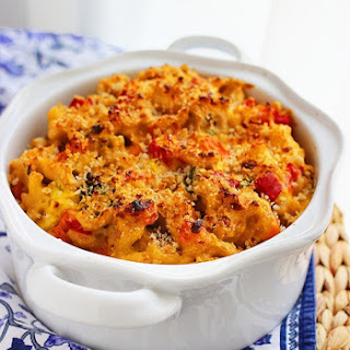 Spicy Roasted Vegetable Macaroni and Cheese.