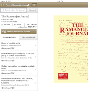The Ramanujan Journal- screenshot thumbnail