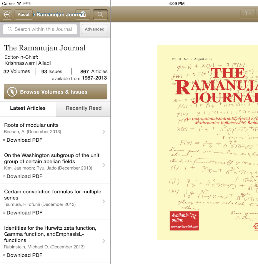 The Ramanujan Journal- screenshot