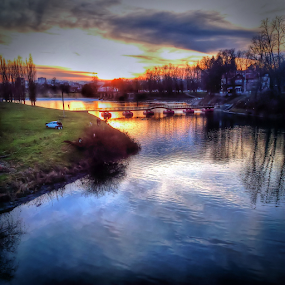 Winter dusk on river by Oliver Švob - Instagram & Mobile Android ( clouds, instagram, reflection, android, colors of sky, colors, snapshot, croatia, dusk, son xperia, sun, city, sony, pontoon bridge, water.bridge, sky, karlovac, sunset, snapshot by malioli, town, river, river korana, mobile, , Lighting, moods, mood lighting )