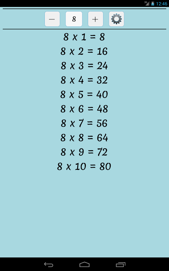 Maths Multiplication Table - screenshot