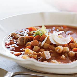 Chicken, Pasta, and Chickpea Stew.