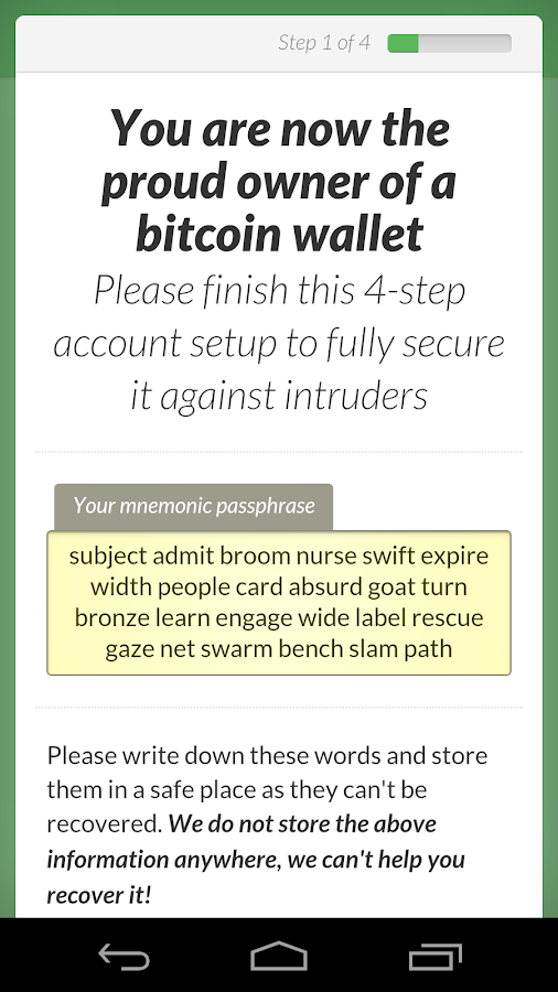 GreenAddress Bitcoin Wallet- screenshot