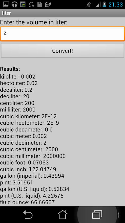 Volume converter android apps on google play - Liter to cubic meter conversion calculator ...