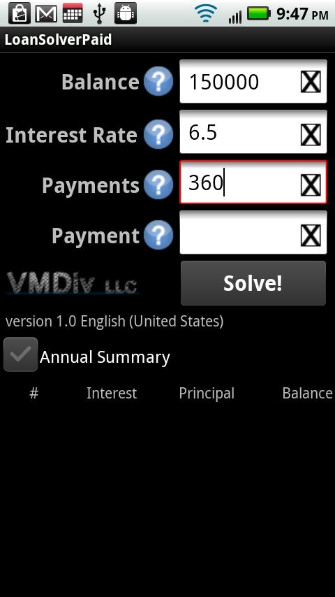 LoanSolverPaid - screenshot