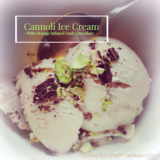 Cannoli Ice Cream with Orange Infused Dark Chocolate