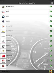 HaynesPro Warning Lights App: miniatuur van screenshot