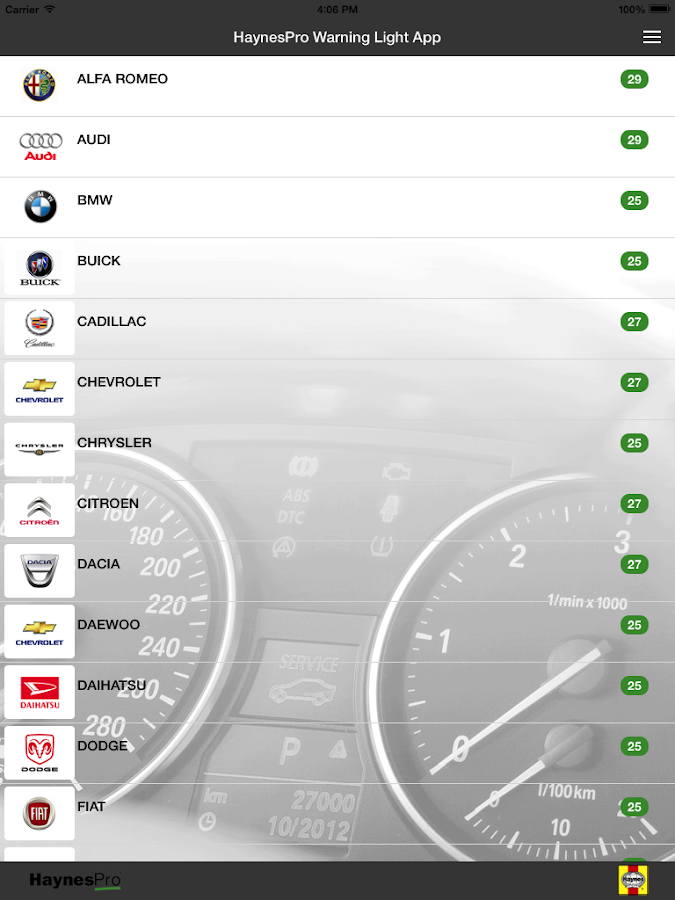 HaynesPro Warning Lights App: screenshot