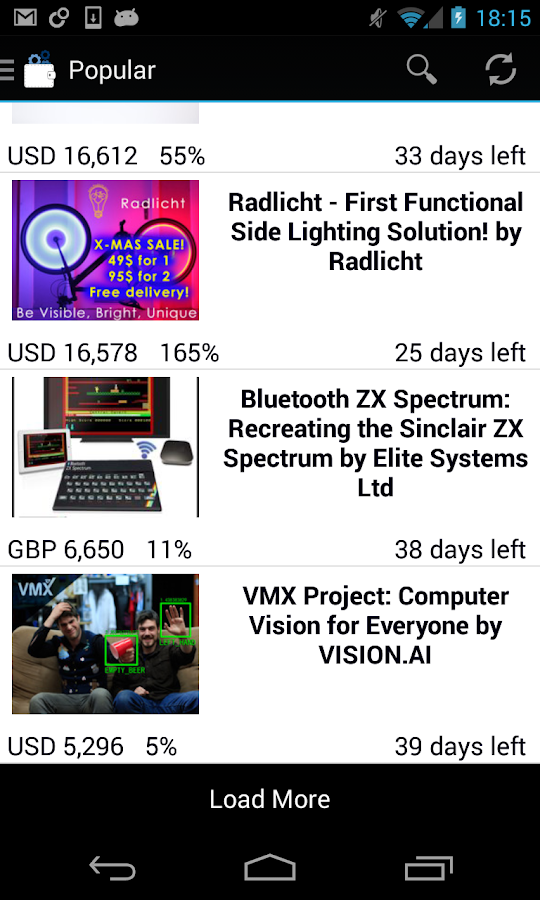Techfunder: kickstarter & more - screenshot
