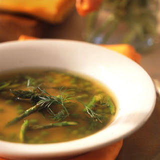 Chicken Soup with Asparagus, Peas, and Dill