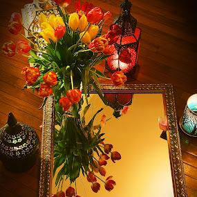 Tulips and Mirror by Elk Baiter - Flowers Flower Arangements ( mirror, reflection, still life, vignette, tulips, flowers, lanterns,  )