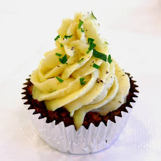 Sausage Meatloaf Cupcakes with Creamy Mashed Potato Frosting.