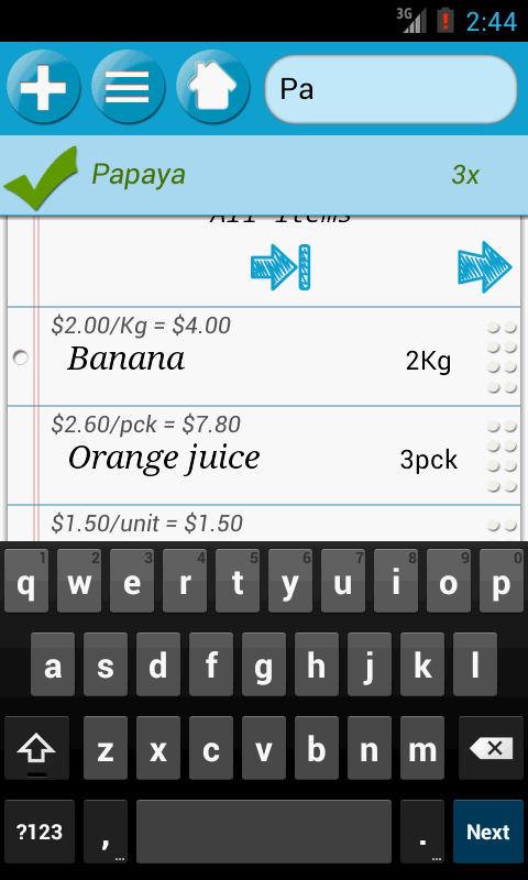 QuickGroceryPro Shopping List - screenshot