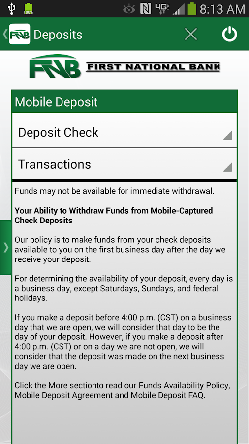 FNB Vinita Mobile Banking - screenshot