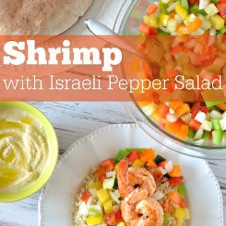 Shrimp and Israeli Pepper Salad with Pita Bread.