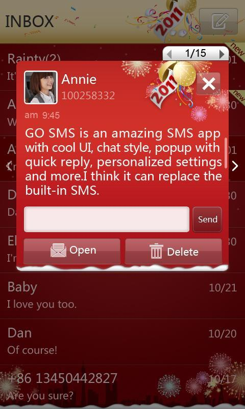 GO SMS Pro New Year - Red screenshot #2