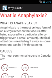 WhyRiskIt? Teen Allergy Info - screenshot thumbnail