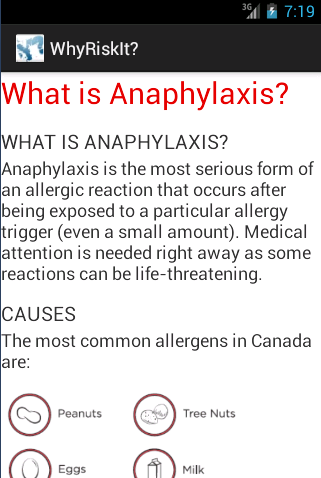 WhyRiskIt? Teen Allergy Info - screenshot