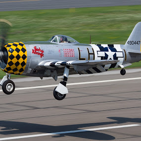 P47 Arrival @ KFRG by John Klos - Transportation Airplanes ( canon, spotting, memorial day, airplane, kfrg, frg, 44-90447, new york, farmingdale, canon 7d, nx1345b, aviation, prop blur, canon ef 100-400mm f/4.5-5.6l is usm, warbird, republic airport, aircraft, long island, p-47d, john klos, jacky's revenge, airline, air show, air, transport )