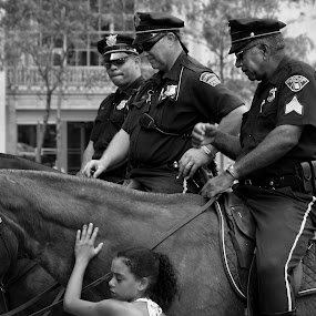 Policemen, Horse and a Girl by Robert Daveant - People Street & Candids ( , Travel, People, Lifestyle, Culture )