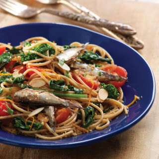 Sardine & Cherry Tomato Spaghetti with Orange Bread Crumbs