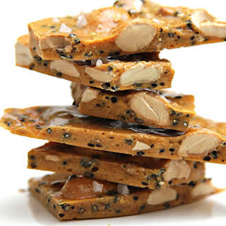 Salted Marcona almond and black sesame brittle with coriander.
