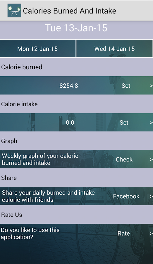 Calories Burned And Intake- screenshot