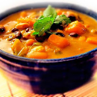 African Sweet Potato Soup with Peanut Butter, Black-Eyed Peas & Beans.