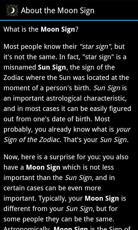 Moon Sign- screenshot