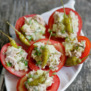 Stuffed Tomato with Tuna, Potato and Pickled Thyme Salad.