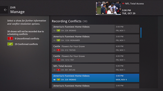Select recording conflict on DVR legacy Fiber TV