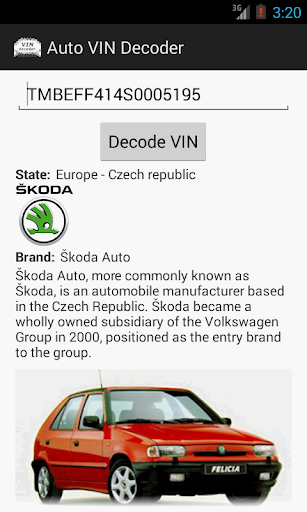 Auto VIN Decoder screenshot