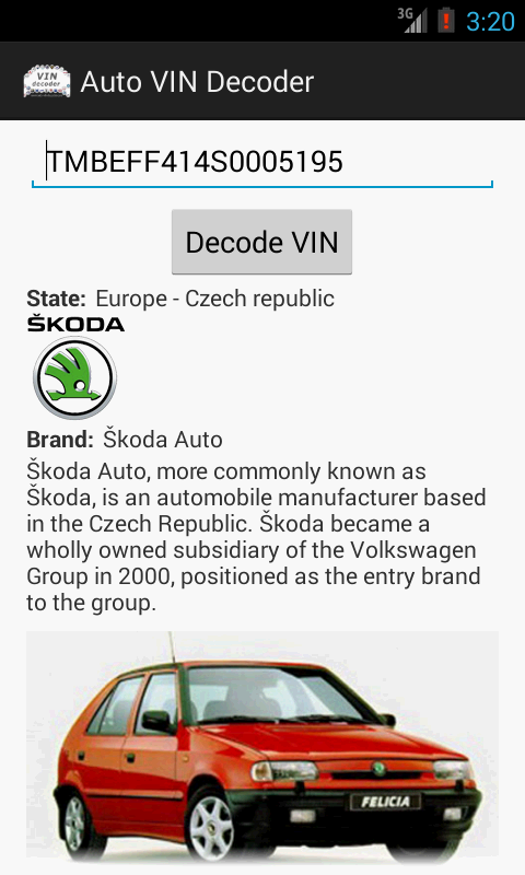 Auto VIN Decoder- screenshot