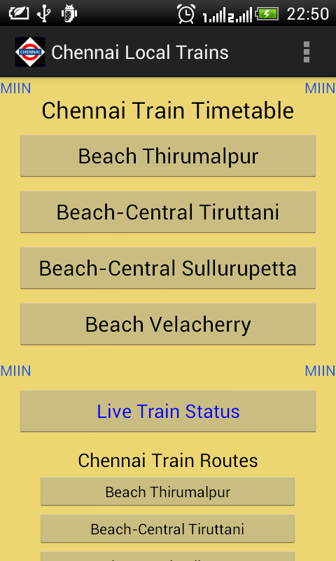 Chennai Local Train Timetable- screenshot