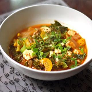 Squash, Shiitake, Kale, and Kimchi Stew