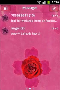 GO SMS Theme Pink Rose Cute screenshot 0