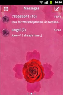 GO SMS Theme Pink Rose Cute - screenshot thumbnail