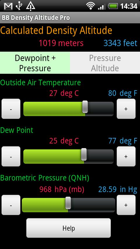 BB Density Altitude Tool Pro Android Apps On Google Play - Altitude calculator